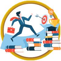 Faculty member walking on books