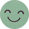 a smiling cartoon face on a green background