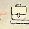 a finger points at a precariously balanced briefcase