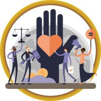 animated people hold a heart and scales in front of an image of a hand