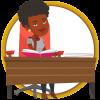 a woman sits behind a desk reading a textbook
