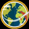 an airplane circles a globe