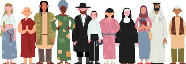 A group of people of different religious faiths