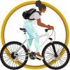 a woman rides a bike