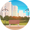 Park bench with city landscape in the background