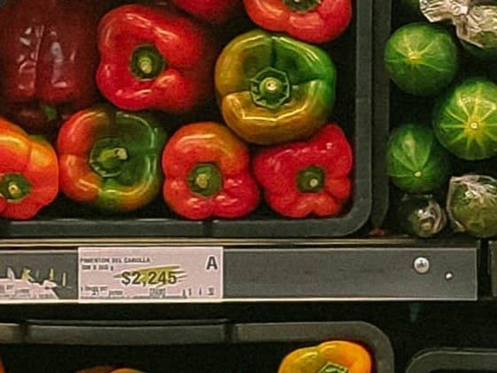 grocery store shelf with hearty vegetables