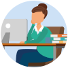 Teaching sitting at desktop computer